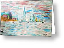 Boats On Water Monet  Greeting Card