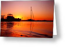 Boats Sunset Greeting Card