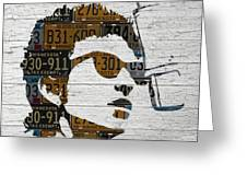 Bob Dylan Minnesota Native Recycled Vintage License Plate Portrait On White Wood Greeting Card