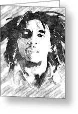 Bob Marley Bw Portrait Greeting Card