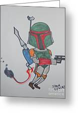 Boba Fett Caricature Greeting Card