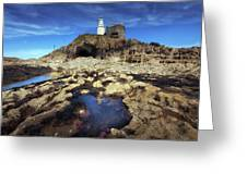 Bob's Cave At Mumbles Lighthouse Greeting Card