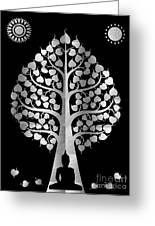 Bodhi Tree_iv_gold05_greyscale Greeting Card