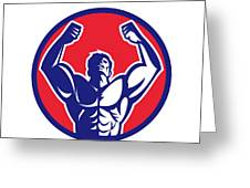 Body Builder Flexing Muscles Circle Retro Greeting Card