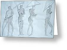 Body Sketches With Umbrella Greeting Card