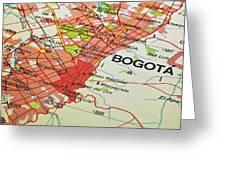 Bogota City Map. Greeting Card