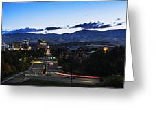 Boise Skyline In Early Morning Hours Greeting Card