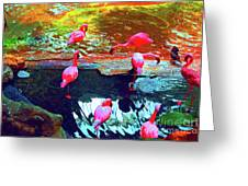Bold Modified Flamingoes Greeting Card