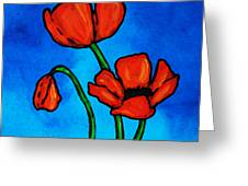 Bold Red Poppies - Colorful Flowers Art Greeting Card
