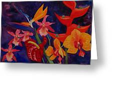 Bold Tropical Flowers Greeting Card
