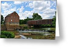 Bollinger Mill And Covered Bridge Greeting Card