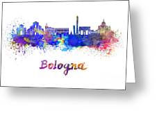 Bologna Skyline In Watercolor Greeting Card