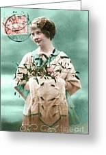 Bonne Annee Vintage Woman Greeting Card