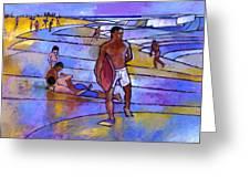 Boogieboarding At Sandy's Greeting Card by Douglas Simonson