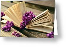 Book And Flower Greeting Card