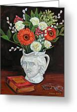 Book And Flowers Greeting Card