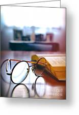 Book And Glasses Greeting Card