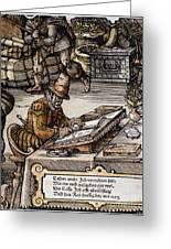 Bookkeeper, 16th Century Greeting Card