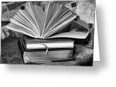 Books In Black And White Greeting Card