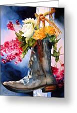 Boot Bouquet Greeting Card by Karen Stark