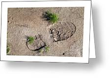 Boot Print In The Desert Greeting Card