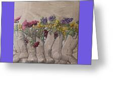 Boots And Flowers Greeting Card