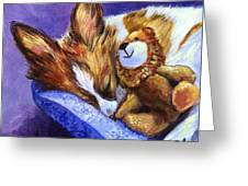 Bos And The Lion - Papillon Greeting Card by Lyn Cook