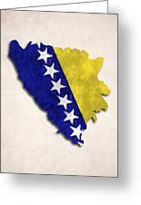 Bosnia And Herzegovina Map Art With Flag Design Greeting Card