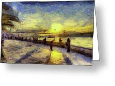Bosphorus Sunset Art Greeting Card