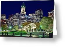 Boston Above Christopher Columbus Park Greeting Card
