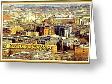 Boston Beantown Rooftops Digital Art Greeting Card