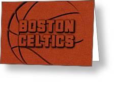 Boston Celtics Leather Art Greeting Card