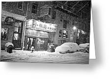 Boston Chinatown Snowstorm Tyler St Black And White Greeting Card