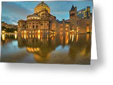 Boston Christian Science Building Reflecting Pool Greeting Card