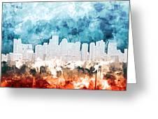 Boston City Skyline Watercolor 2 Greeting Card