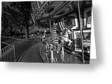 Boston Common Carousel Boston Ma Black And White Greeting Card