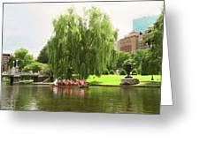 Boston Garden Swan Boat Greeting Card