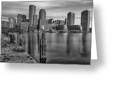Boston Habor Sunrise Bw Greeting Card