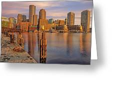Boston Habor Sunrise Greeting Card