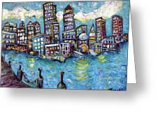 Boston Harbor Greeting Card by Jason Gluskin