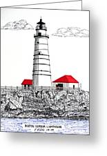 Boston Harbor Lighthouse Dwg Greeting Card