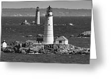 Boston Light With Graves Light Greeting Card