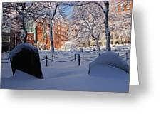 Boston Ma Granary Burying Ground Tremont St Grave Stones Greeting Card