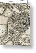 Boston Map Of 1842 Greeting Card