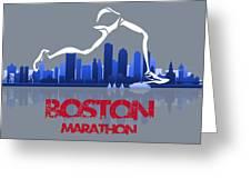 Boston Marathon 3a Running Runner Greeting Card