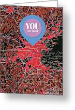Boston Massachusetts 1948 Red Old Map You Are Here Greeting Card