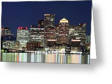 Boston Night Skyline Panorama Greeting Card