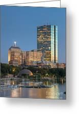Boston Night Skyline Iv Greeting Card