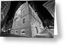 Boston Old State House Boston Ma Angle Black And White Greeting Card