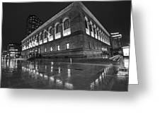 Boston Public Library Rainy Night Boston Ma Black And White Greeting Card